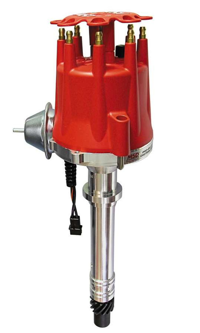 MSD8361,Distributor, Pro-Billet, Street, Magnetic Pickup, Vacuum Advance, HEI Style, Red, Chevy V8, Each