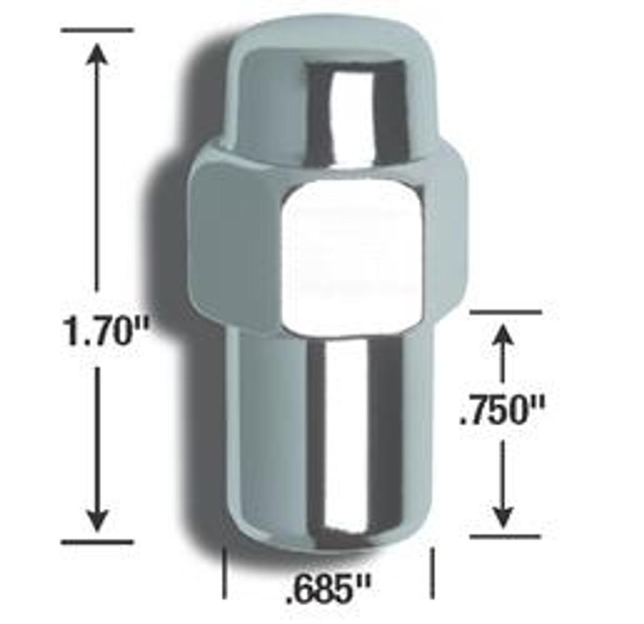 AME73187B, LUG NUTS 1/2IN STANDARD MAG CHROME 4PK