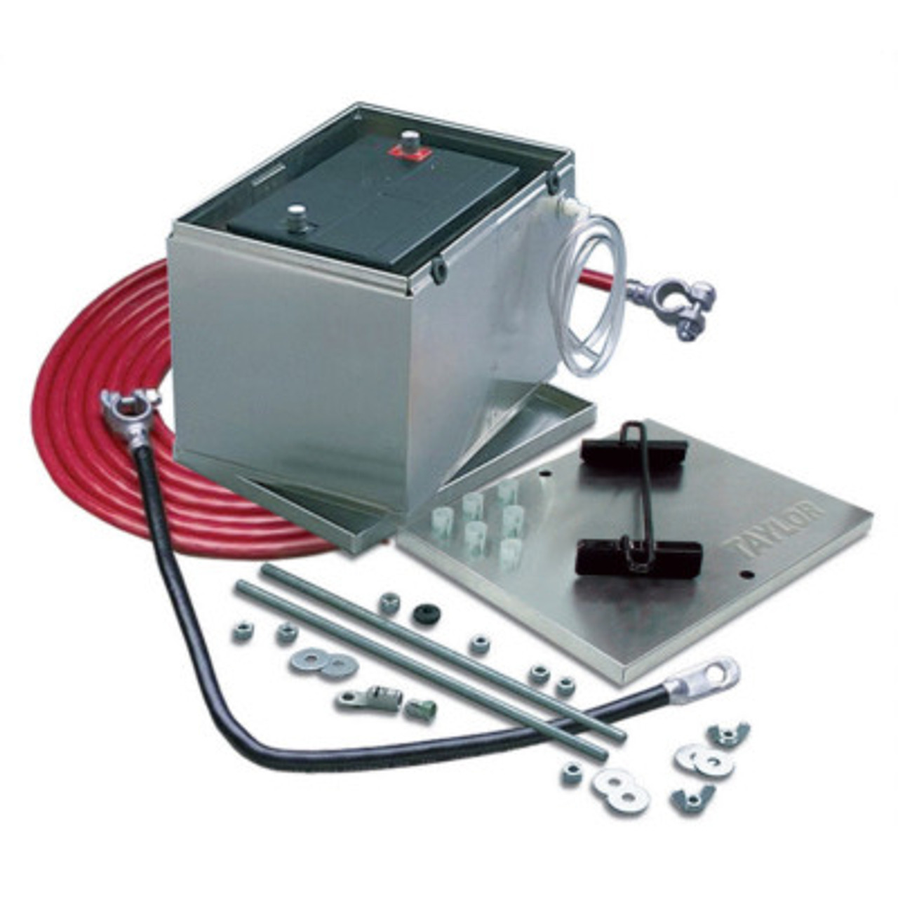 TAY48001, Battery Relocation Kit, 13-1/2 x 9-1/2 x 10 in, Aluminum, 3 Piece Box, 2 Gauge Cables, 16 ft Red / 20 in Black, NHRA Compliant, Kit