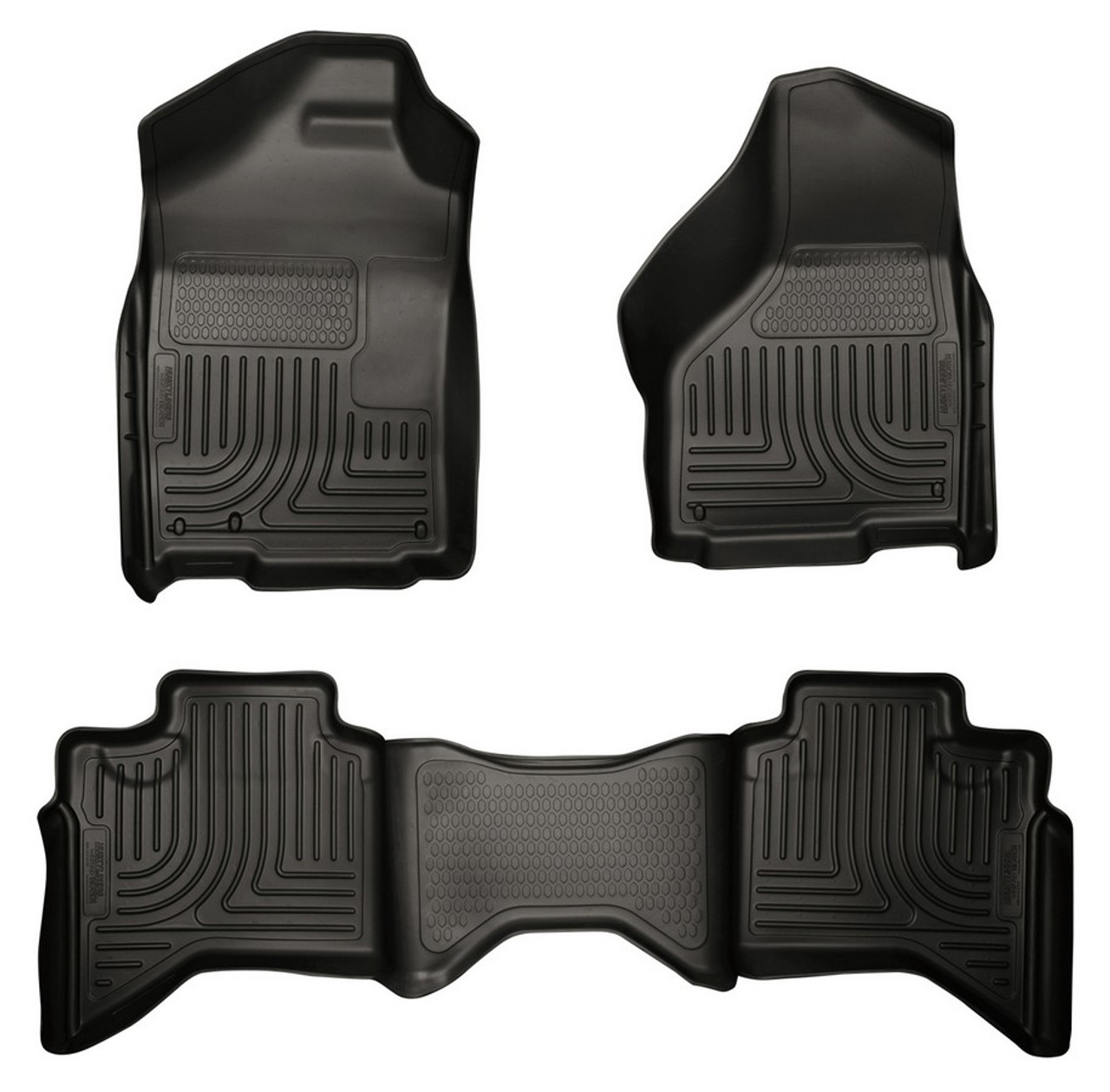HSK99011, Floor Liner, Weatherbeater, Front and 2nd Row, Plastic, Black, Quad Cab, Dodge 2009-14, Kit