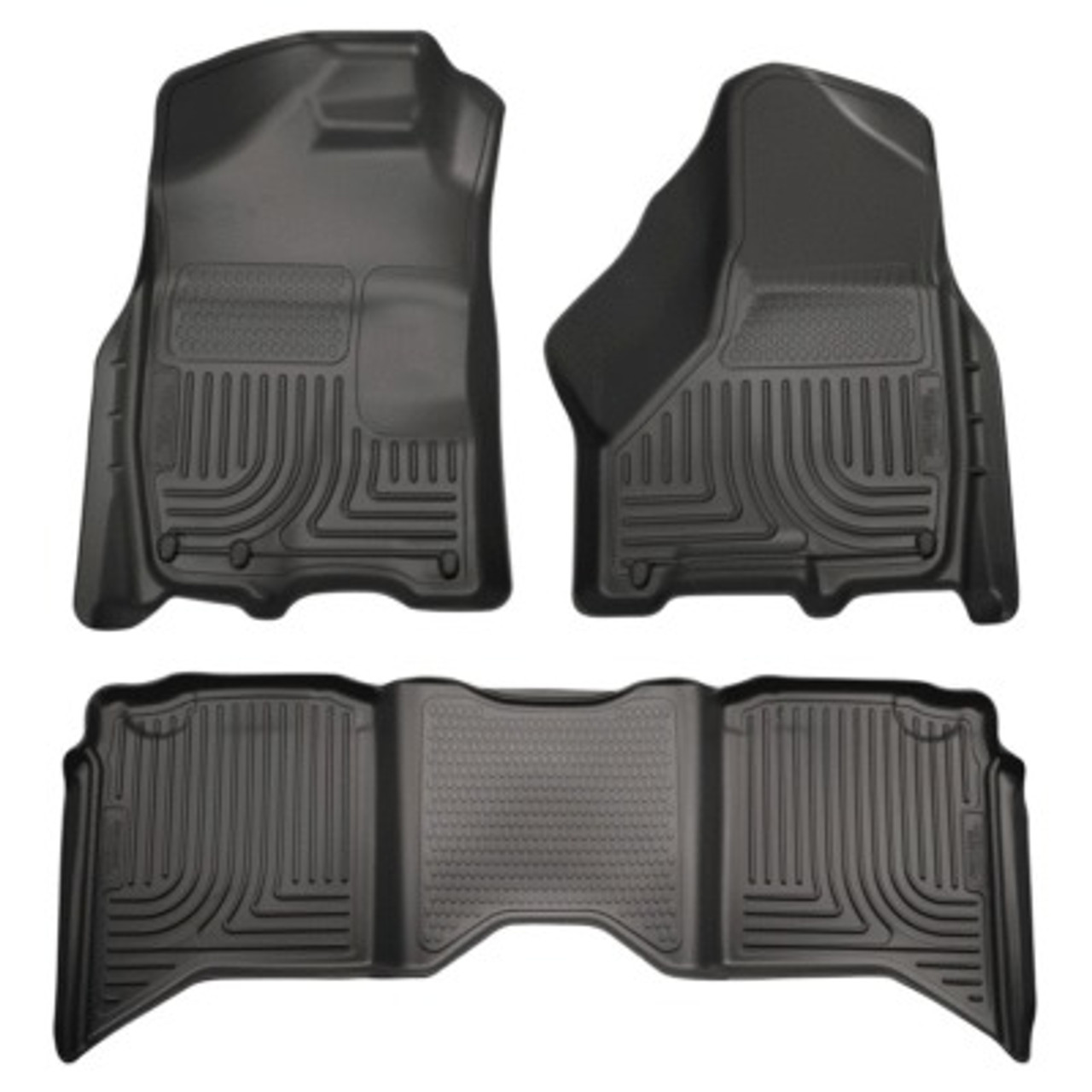 HSK99001, Floor Liner, Weatherbeater, Front and 2nd Row, Plastic, Black, Crew Cab, Dodge Fullsize Truck 2009-14, Kit