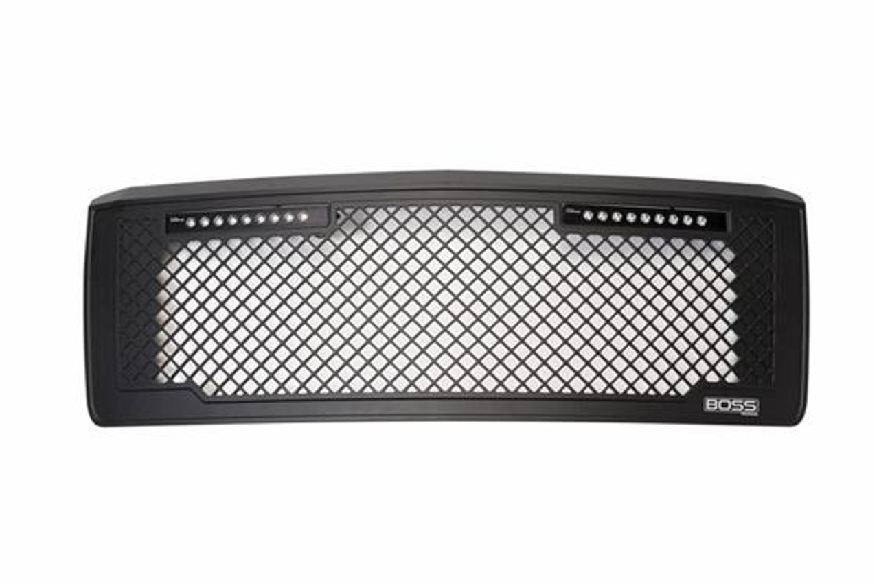 PUT270507BL, Grille Insert; Boss; Overlay; Boss Style; Without Emblem Cutout; Powder Coated; Black; Aluminum; With Two 10 Inch Luminix Light Bars