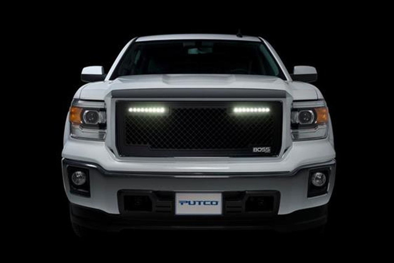PUT270535BL, Grille Insert; Boss; Overlay; Boss Style; Without Emblem Cutout; Powder Coated; Black; Aluminum; With Two 10 Inch Luminix Light Bar/ Mounting Hardware