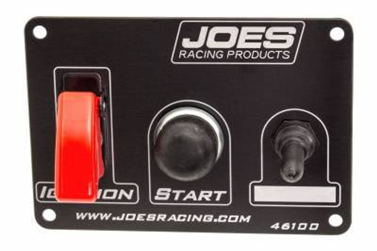 JOE46100, Switch Panel, Dash Mount, 5 x 3-1/2 in, 2 Toggles / 1 Momentary Button, Aluminum, Black / White, Each