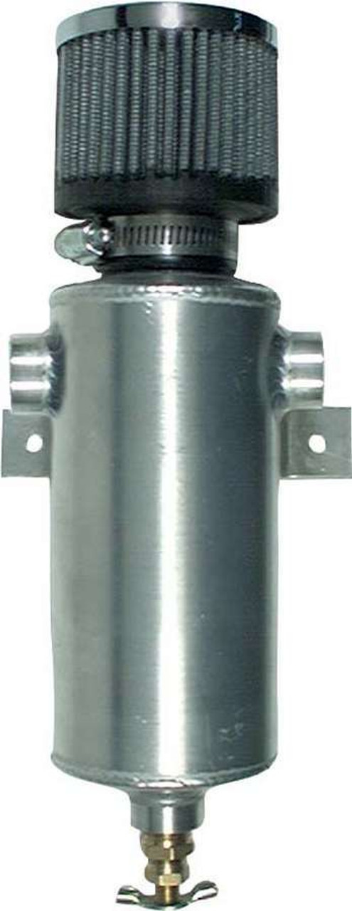 ALL36109, Breather Tank, 3 in Diameter x 11-1/2 in Tall, 3/8 in NPT Female Inlet, 3/8 in NPT Female Outlet, Aluminum, Natural, Each