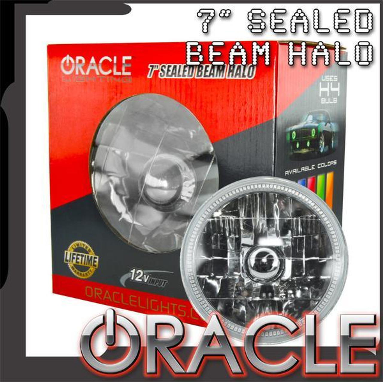 """ORL6905-001, ORACLE PRE-INSTALLED 7"""" H6024/PAR56 SEALED BEAM HALO, White"""