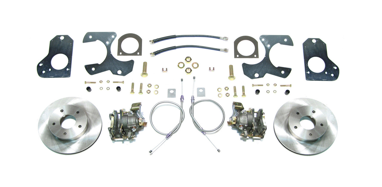 RSDAFXRD78, Brake System, Disc Conversion, Rear, 1 Piston Caliper, 11.000 in Rotor, Offset Hat, Iron, Natural, GM 10-Bolt 1978-88, Kit