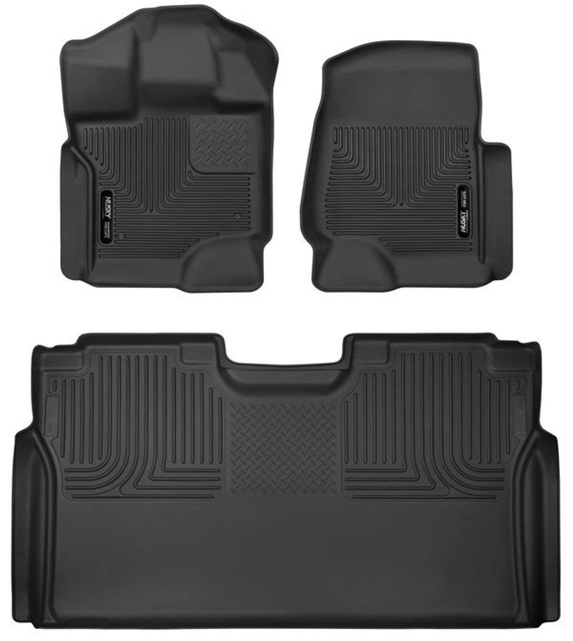 HSK53498, Floor Liner, X-Act Contour, Front / 2nd Row, Plastic, Black / Textured, Super Crew Cab, Ford Fullsize Truck 2015-20, Each