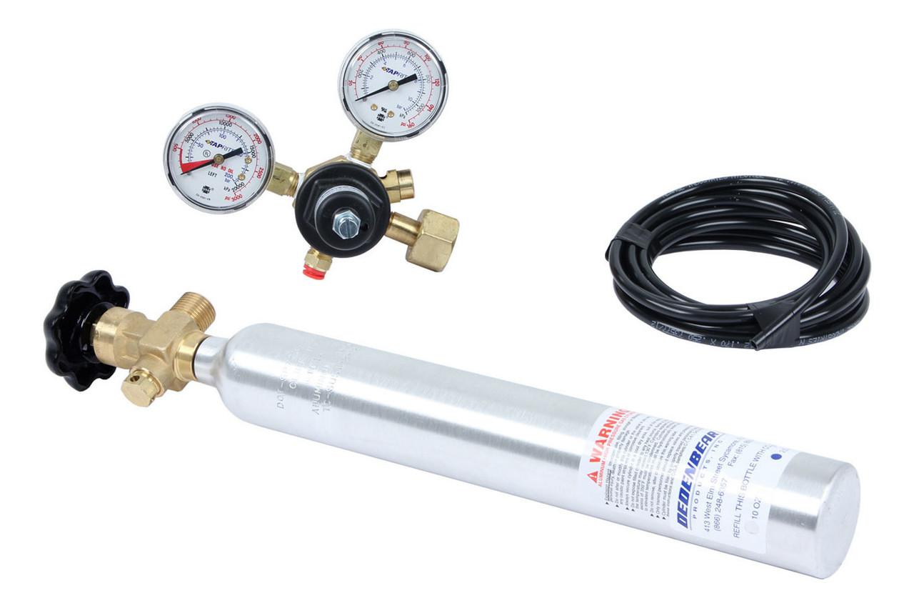 DEDAB10K, CO2 Bottle and Regulator, 10 oz, Bottle / Valve / Regulator / Line, Aluminum, Natural, Kit