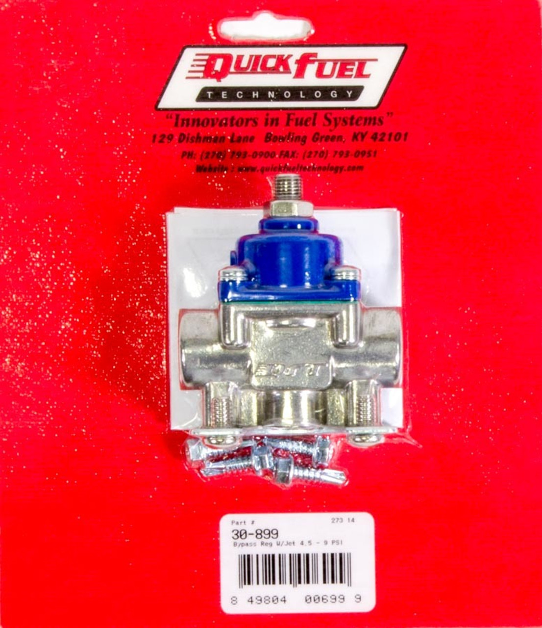 QFT30-899, Fuel Pressure Regulator, 4-1/2 to 9 psi, In-Line, 3/8 in NPT Female Inlet, 3/8 in NPT Female Outlet, 3/8 in NPT Female Return, Bypass, Aluminum, Blue / Natural, E85 / Gas / Methanol, Each