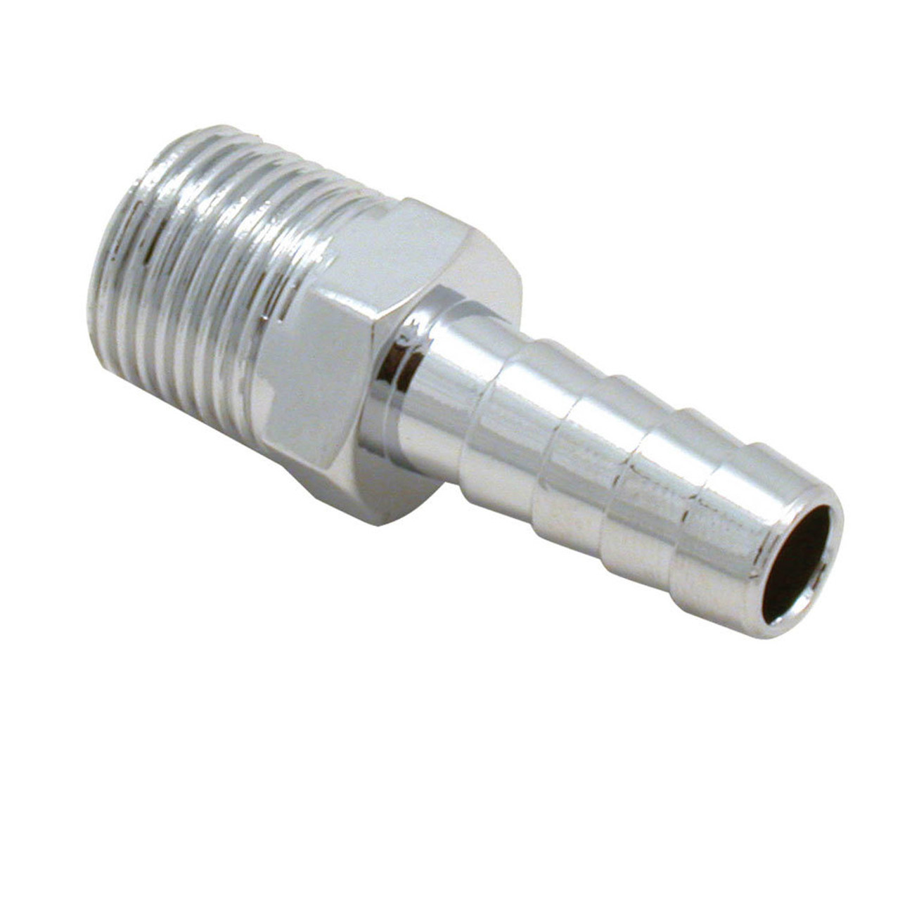 SPE5945, FUEL FITTING 3/8 in NPT Male to 3/8 in Hose Barb Chrome