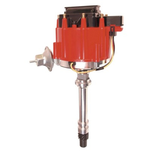 Distributor, Street Fire HEI, Magnetic Pickup, Vacuum Advance, HEI Style, Red, Coil in Cap, Chevy V8, Each