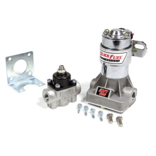 Fuel Pump, Electric, In-Line, 125 gph at 14 psi, 3/8 in NPT Inlet, 3/8 in NPT Outlet, Regulator, Silver, Gas, Each