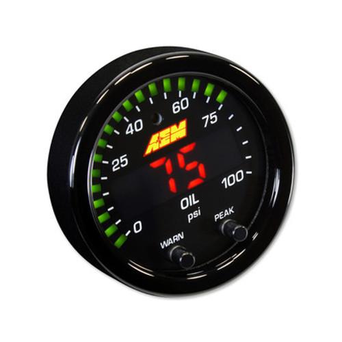 AEM30-0301, Pressure Gauge, X-Series, 0-100 psi, Electric, Digital, 2-1/16 in Diameter, Full Sweep, Black Face, Each