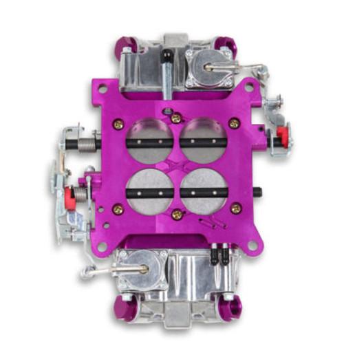 QFTBR-67200, Carburetor, Brawler Race, 4-Barrel, 750 CFM, Square Bore, No Choke, Mechanical Secondary, Dual Inlet, Polished / Purple Anodize
