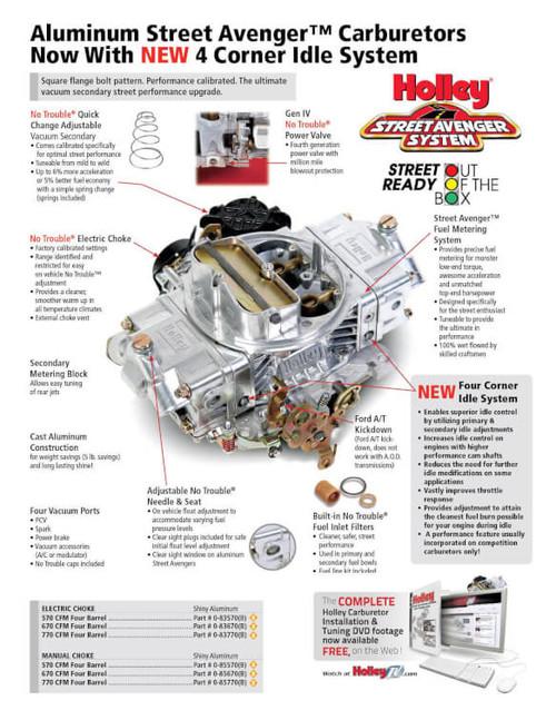 HLY0-83670, Carburetor, Model 4150, Aluminum Street Avenger, 4-Barrel, 570 CFM, Square Bore, Electric Choke, Vacuum Secondary, Single Inlet, Silver, Each