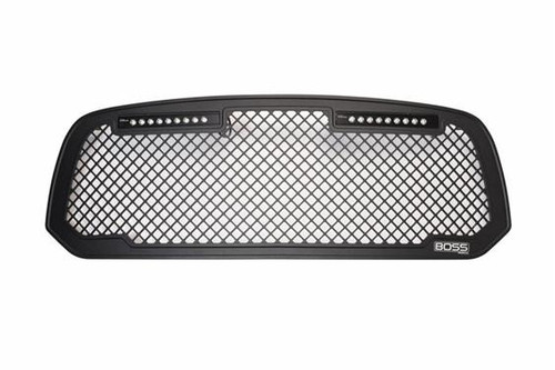 PUT270523BL, Grille Insert; Boss; Overlay; Boss Style; Powder Coated; Black; Aluminum; With Lighted