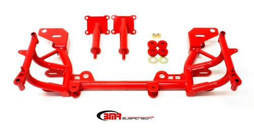 BMRKM013R, K-Member, Tubular, Turbo Clearance, Factory Steering Rack, Steel, Red Powder Coat, GM LS-Series, GM F-Body 1998-2002, Each