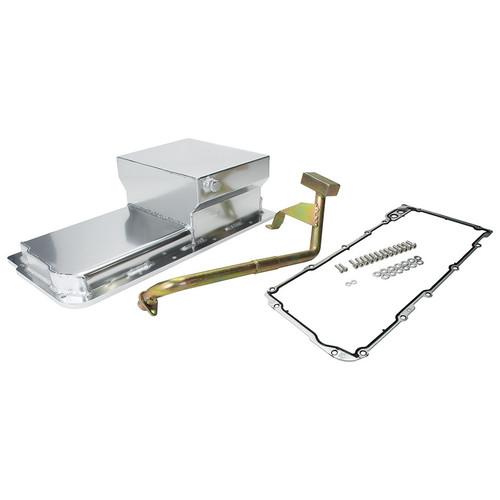 ALL26245, Engine Oil Pan Kit, Fabricated, Rear Sump, 7 qt, 6 in Deep, Gasket / Hardware / Pickup, Aluminum, Natural, GM LS-Series, Kit