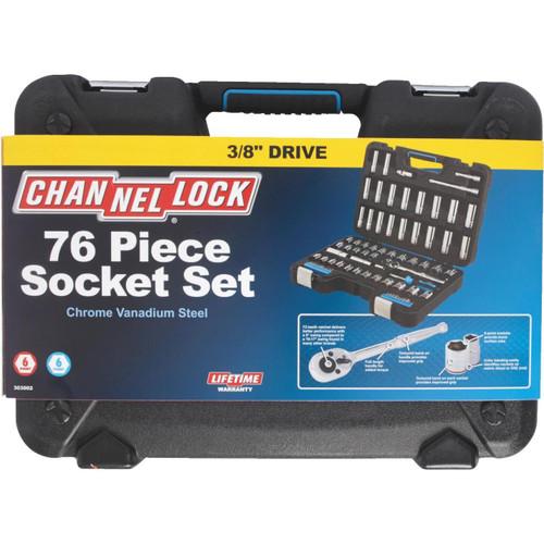 Channellock Standard/Metric 3/8 In. Drive 6-Point Combination Ratchet & Socket Set (76-Piece)