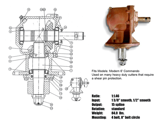 """GEARBOX 75HP Shear Pin 250373, Ratio 1:1046, 1 3/8 Smooth, 1/2"""" Smooth Input, 15 Spline Output"""