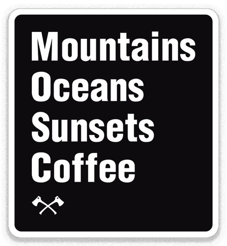 Mountains Oceans Sunsets Coffee sticker
