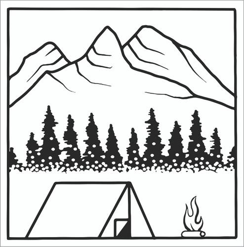 Mountain Camping BW Sticker