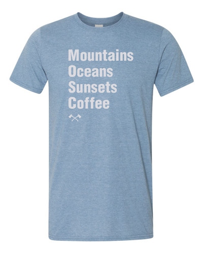Scout Mountains Oceans Sunsets Coffee shirt