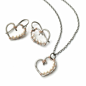 Open Heart Necklace & Earrings with Rose Gold and Pearls