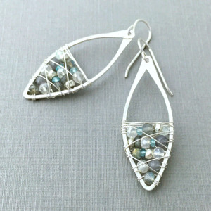 Aqua Scatter Marquise Earrings