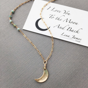 I Love You To The Moon Gold Necklace