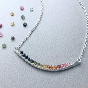 Curved Bar Necklace (Large) with Tourmaline