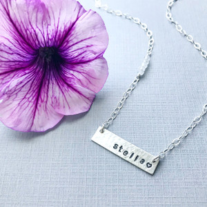 Bar Necklace with Name and Birthstones