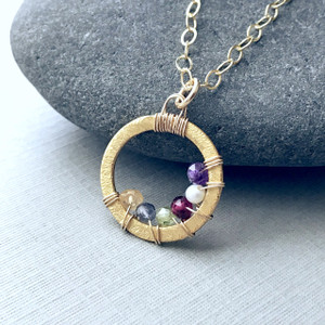 Family Circle Necklace with 1-6 Birthstones