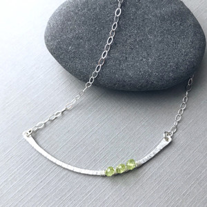 Curved Bar Necklace (Large) with Birthstones