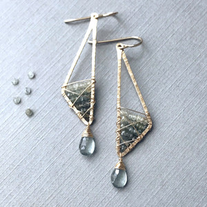 Abstract Triangle Earrings with Ombré Moss Aquamarine