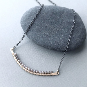Curved Bar Necklace (Large) with Moonstone