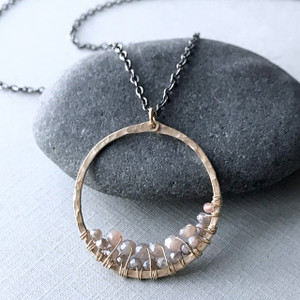 Circle Pendant Necklace with Chocolate Peach Moonstone