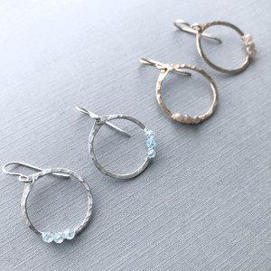 Circle Hoops with Birthstone