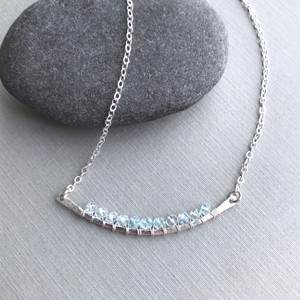 Curved Bar Necklace (Large) with Aquamarine