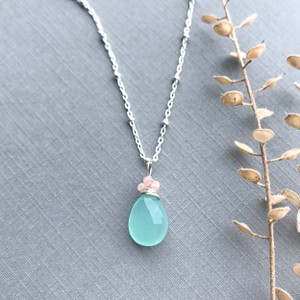 Chalcedony Necklace Beaded Chain
