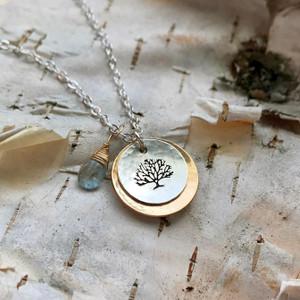 Family Tree Necklace- Moss Aquamarine