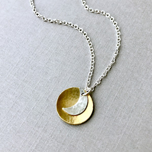 I Love You to the Moon Necklace with Golden Disc