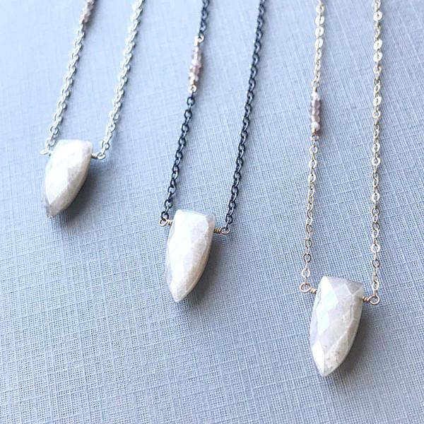 Peach Moonstone Boho Luxe Necklace