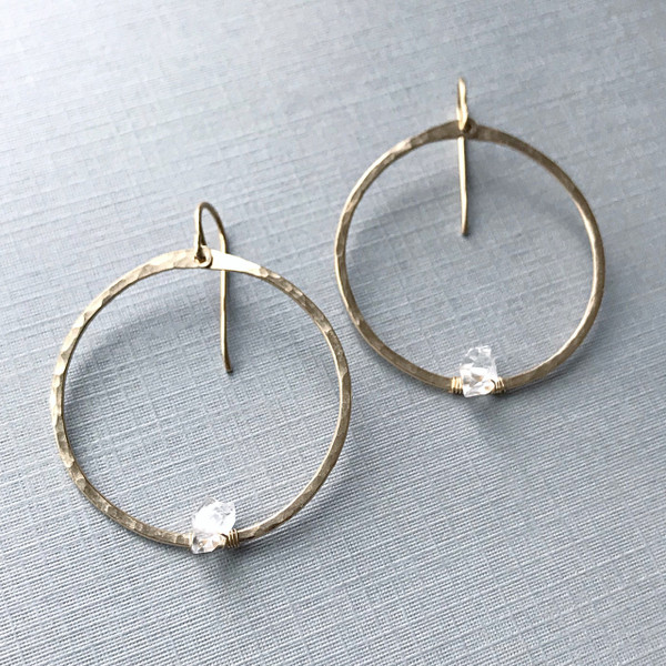 Circle Hoops-  Herkimer Diamonds and Gold