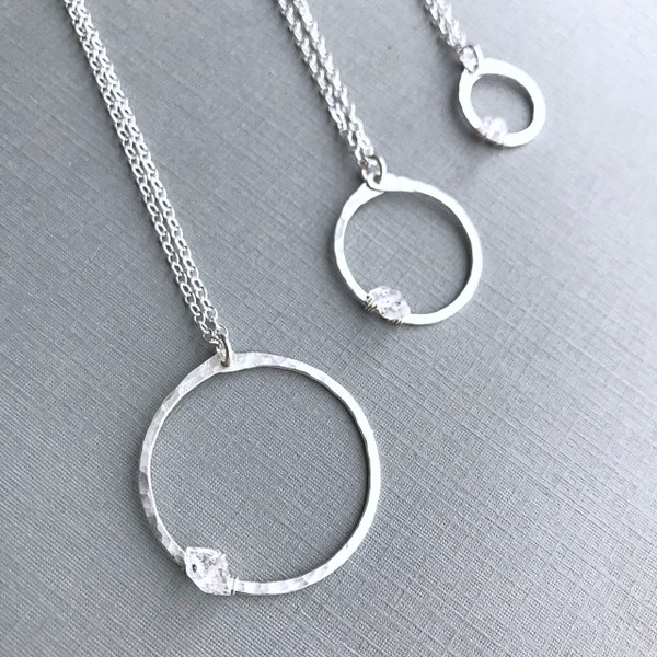The Circle Necklace with Herkimer Diamond