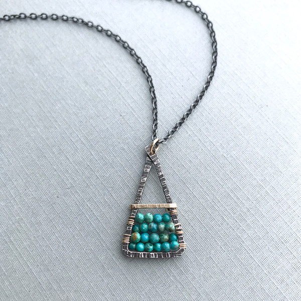 Santa Fe Necklace with Green Turquoise