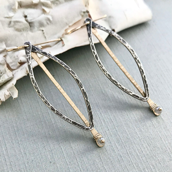 Modern Leaf Earrings with Labradorite