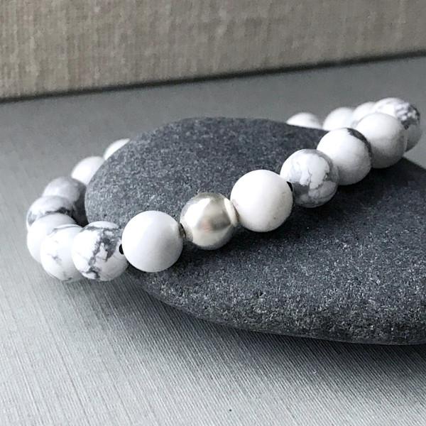 White Howlite and Sterling Silver Bracelet