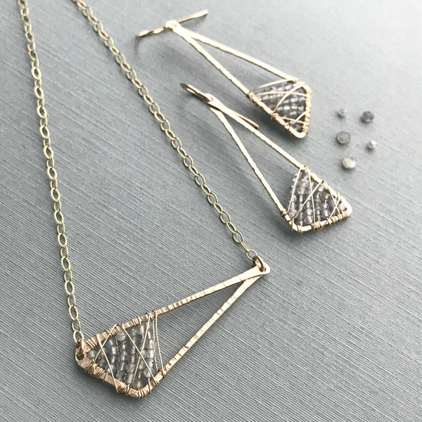 Abstract Triangle Earrings with Labradorite